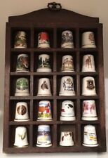 20 Vintage Porcelain Decorative Sewing Thimbles Collection Wooden Rack Display