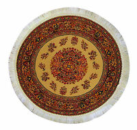 1:12 Scale Round Woven Turkish Rug Dolls House Miniature Carpet 1649 Beige (D)