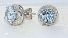 Aquamarine & Diamond Round Stud Earrings White Gold Silver