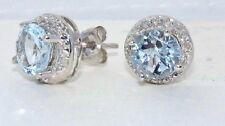 Aquamarine & Diamond Round Stud Earrings .925 Sterling Silver