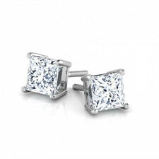 FABULOUS 2.00 CARAT H SI2 PRINCESS DIAMOND STUD EARRINGS 14 K WHITE GOLD