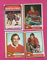 1974-75 OPC CANADIENS SAVARD + ROBERTS + LEFLEY + PLAYOFF CARD  (INV# D1884)