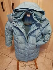 LL Bean Quilted Goose Down Parka Hooded Baby Blue Jacket Long Coat Womans XS