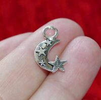10x Crescent Moon Star Charms for Bracelet Necklace Pendant Findings Silver C709