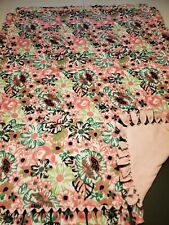 Pink floral Double Sided Fleece Blanket 72×60