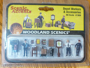 Woodland Scenics #1909 (HO Scale) Depot Workers & Accessories