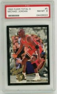 1992 Fleer Total D Michael Jordan #5 PSA 8