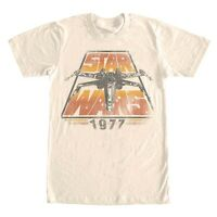 Star Wars X-Wing 1977 Vintage Look Off White/Cream Men's T-Shirt New