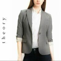 Theory Women's Hayward Gray Wool Blend Long Sleeve Lined Blazer Jacket Size 4