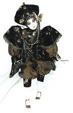 """Vintage Porcelain doll black gold harlequin jester clown 16"""""""