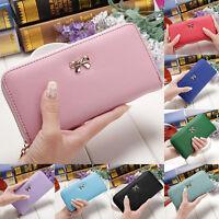 Women PU bowknot Leather Clutch Purse Holder Card Long Wallet Bag Box Handbag