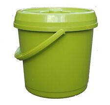 14L Litre GREEN Plastic Bucket With Lid Carry Handle Bird Seeds Recycle Bin Tub
