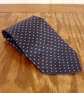 "vtg Robert Talbott for The Brass Horn Navy Blue Geometric Silk Tie 57"" 4"""