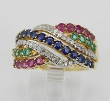 14K Yellow Gold Diamond Sapphire Ruby Emerald Ring Crossover Band Size 7