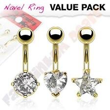 3PC Value Pack Assorted Shape CZ Gold Ion Plated Belly Rings