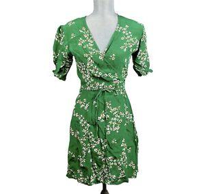 Faithfull the Brand Wrap Dress Large Green Floral Print Short AUS 12 Rayon New