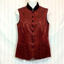 Coldwater Creek Sz 6 Medium Red Black Mandarin Vest Sleeveless Shirt Velvet Trim