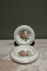 Vintage Wedgwood Bone China Butter Relish Trinket Dish x 2 - Floral - Vgc