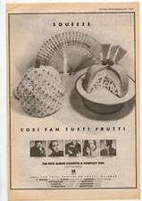 Squeeze Cosi Fan Tutti Frutti Tour Advert NME Cutting 1985