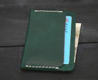men women wallet purse cow Leather name Card Case holder ID pocket bag green 053