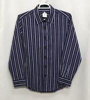 Mens 7 Diamonds XL Purple Striped 100% Cotton Long Sleeve Button Front Shirt