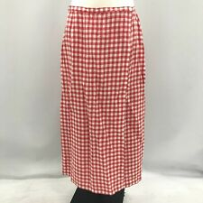 Laura Ashley Wrap Skirt Womens Size 18 Red White Checked Pattern Vintage 291775
