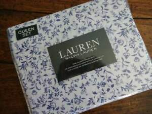 RALPH LAUREN Indigo BLUE White FLORAL QUEEN XDP SHEET Set 4PC
