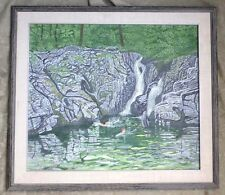 1960'S MID CENTURY CANADIAN MODERNIST WOMAN SCENIC PAINTING SIGNED HILDA HOLLIS