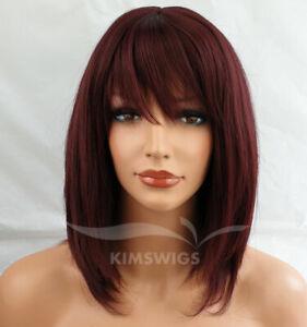 BURGUNDY RED WIG LADIES WOMENS  RAZOR CUT SHOULDER LENGTH FASHION HAIR #99J