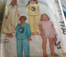 girls RAGGEDY ANNE ANDY pyjamas nightie s2-4 sew pattern MCCALLS 7730 transfers