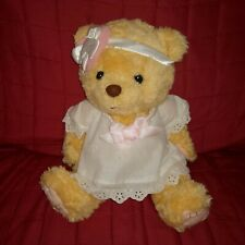 "Cherished Teddies GIRL TEDDY BEAR Yellow Gold Fur 13"" Plush Cream Dress Bow '00"