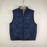 Nike Mens Reversible Synthetic Fill Golf Vest Insulated Size XL Blue Gray