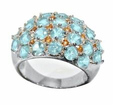 Madagascar Paraiba Apatite Cluster Ring 4.8 cts Platinum over Sterling Size 7