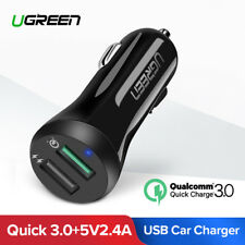 Ugreen Quick Charge 3.0 Car Charger Dual USB Fast Car Charger Adapter for iPhone
