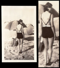 HOT HAZY BEACH HALLUCINATION FACELESS WOMAN PINUP POSE ~ 1932 VINTAGE PHOTO