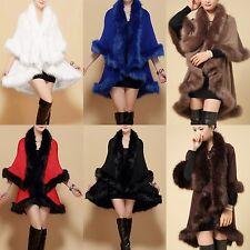 Women Lady Warm Faux Fur Poncho Cape Trim Jacket  Shawl Wrap Winter Coat Outwear