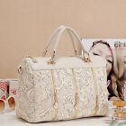 Lace Handbag Vintage Women PU Leather Satchel Messenger Tote Shoulder Bag MCNF8