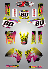 Suzuki RM 125 - 1989 - 1992 NEON style stickers decals Full Custom Graphic Kit