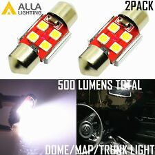 Alla Lighting 2x 800LM 3030 4-LED Dome Map Trunk Light Festoon Bulb DE3175,White