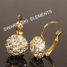 18 CT Con Baño De Oro Amarillo Pendientes 13mm uso Swasrovski Cristal Madre