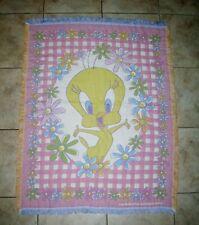 "Warner Brothers Tweety Bird Tapestry Throw Blanket Flowers Daisy Fringe 45x58"""
