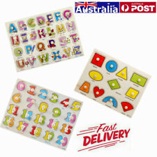 3Pcs/Set Wooden Peg Jigsaw Puzzle for toddlers Alphabet ABC Numbers& Shapes Toy
