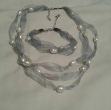 Ivory White Baroque Freshwater Pearls & Blue Ribbon Necklace & Bracelet