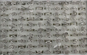 Wholesale Mixed Lots 60pcs Love Heart Lady's Gifts Rhinestone Women Rings