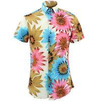 Mens Shirt Loud Originals TAILORED FIT Floral Blue Retro Psychedelic Fancy