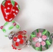7 Lampwork Handmade Glass Strawberry Garden Beads