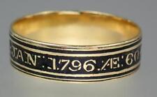 Antique Georgian 22K Gold Mourning Ring ELIZABETH CRANE Scottish Provincial 1796