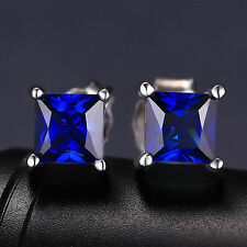 5mm Stunning Square Deep Blue Sapphire Solid Sterling Silver Stud Earrings Gift