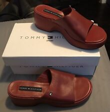 NIB Tommy Hilfiger Womens Leather Sandals - Red - Size 10