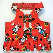 M Dog Pet Pup Custom Fashion Harness Vest Ruffle Minnie Mouse Red Lace Charm Bo